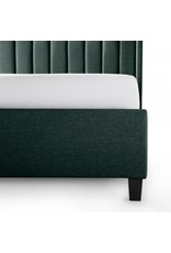 Malouf Malouf Blackwell Complete Upholstered Bed w/ Wingback Headboard, Queen, Stone (STQQSTBLWBUB)