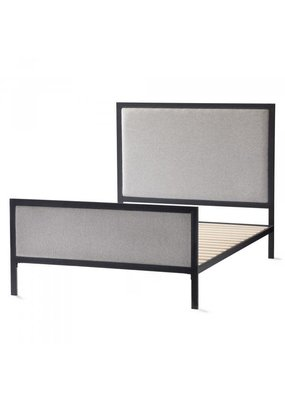 Malouf Malouf Clarke Metal Complete Upholstered Queen Bed (Stone)