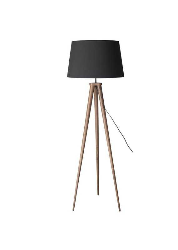 Nuevo Triad Walnut Tripod Floor Lamp