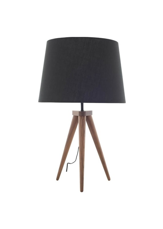 Nuevo Triad Walnut Tripod Table Lamp