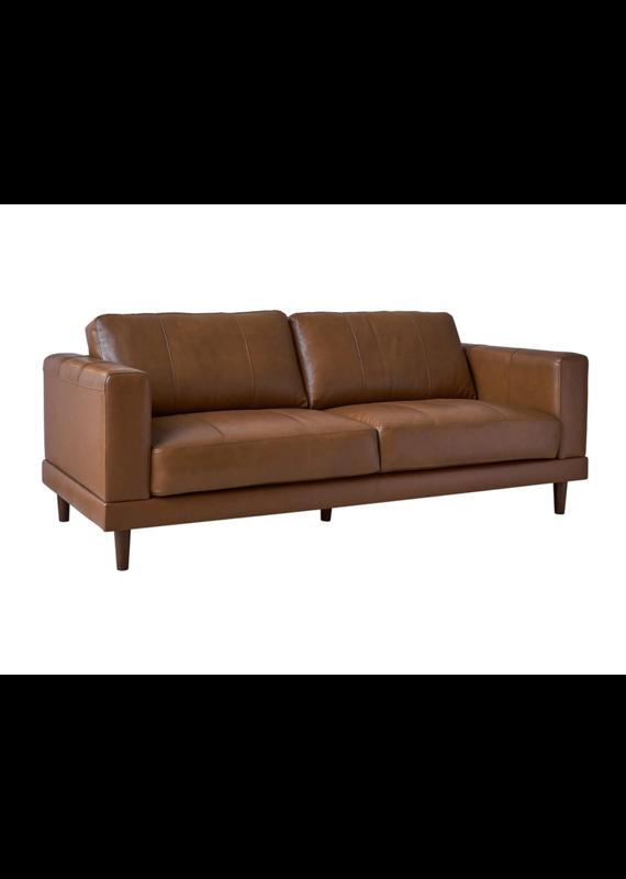 Elements Hampton Leather Sofa in Fiero Tan