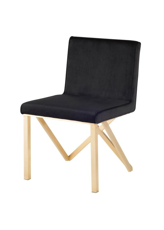 Nuevo Talbot Dining Chair in Black & Gold