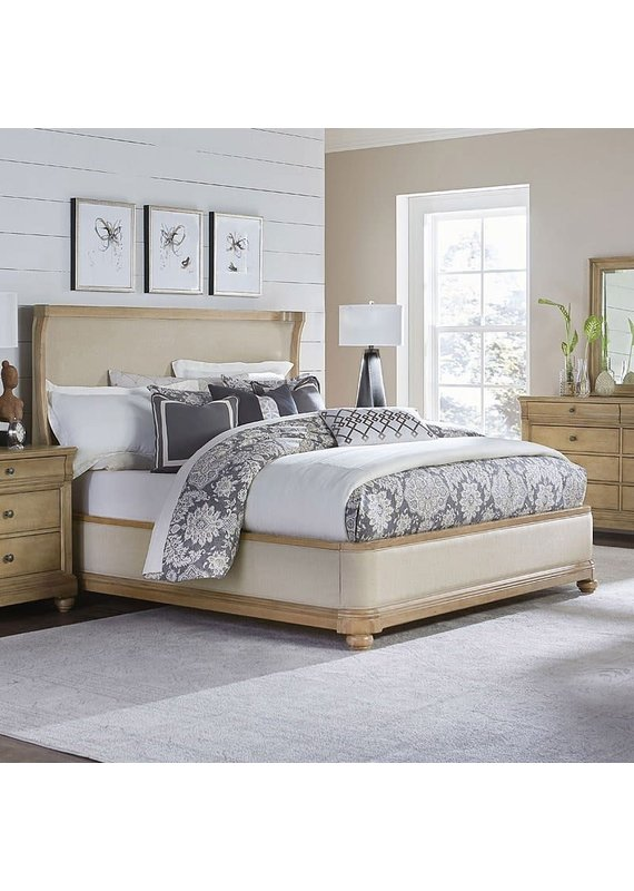Ashby Woods Queen Upholstered Complete Bed in Birch