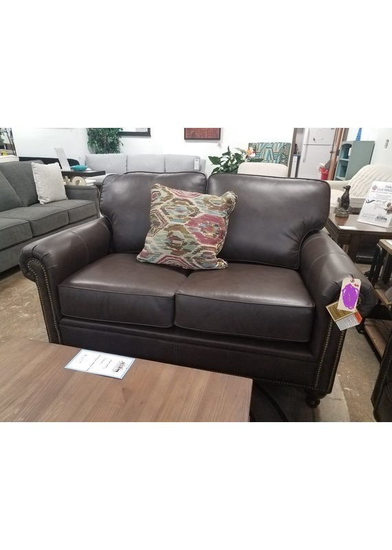 Stone & Leigh Harrison Leather Loveseat in Brown
