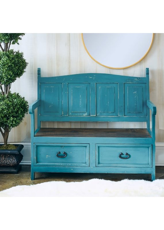 Elements Alexander Monasterio Storage Bench in Turquoise