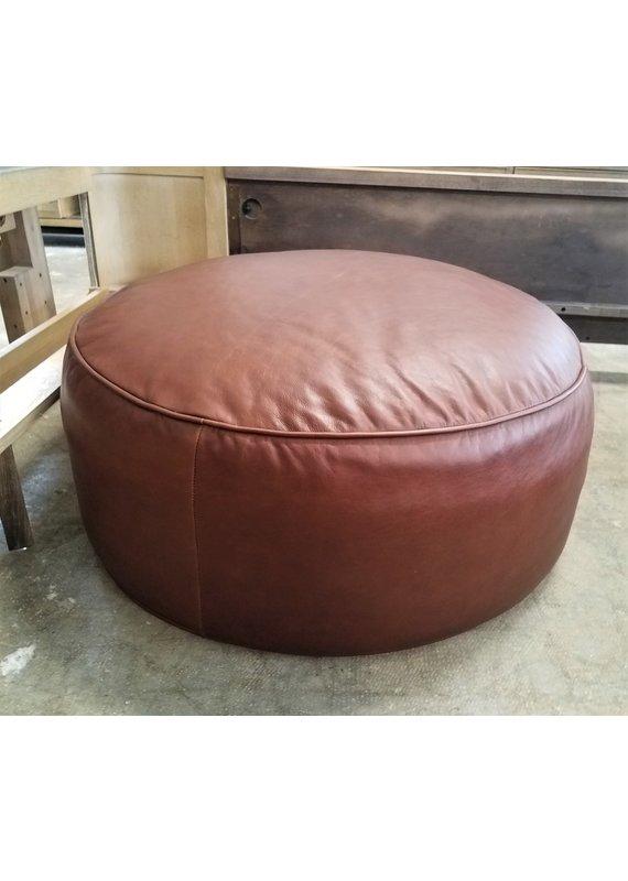 Hammary Round Pouf Leather Ottoman