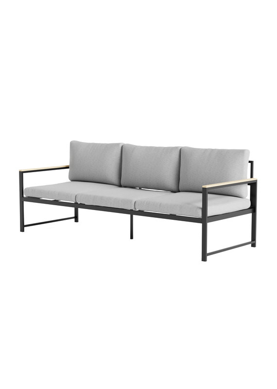 Malouf Weekender Burbank Outdoor Aluminum Sofa with Seat Cushions in Light Gray/Charcoal