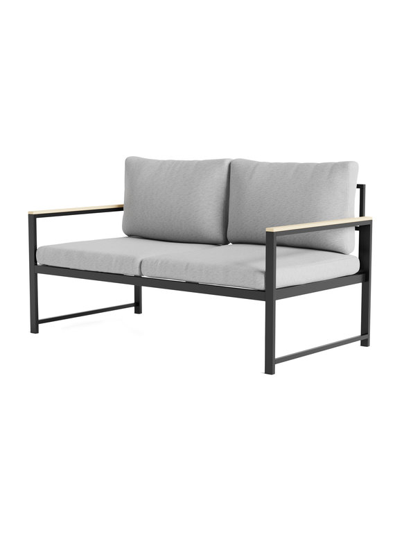 Malouf Weekender Burbank Outdoor Aluminum Loveseat with Seat Cushions in Light Gray/Charcoal