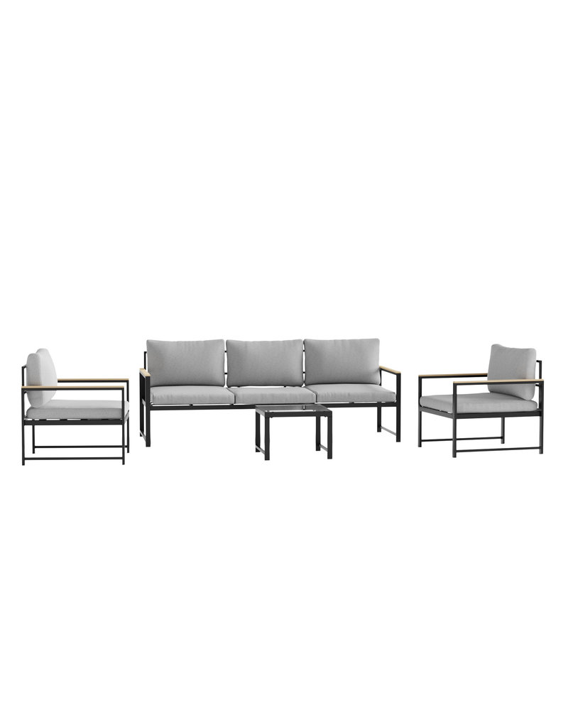 Malouf Malouf Weekender Burbank Outdoor Aluminum Chair with Seat Cushions, Light Gray/Charcoal (WK0001OAC00GC)