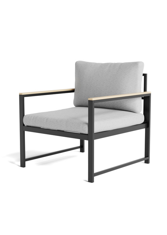 Malouf Weekender Burbank Outdoor Aluminum Chair with Seat Cushions in Light Gray/Charcoal