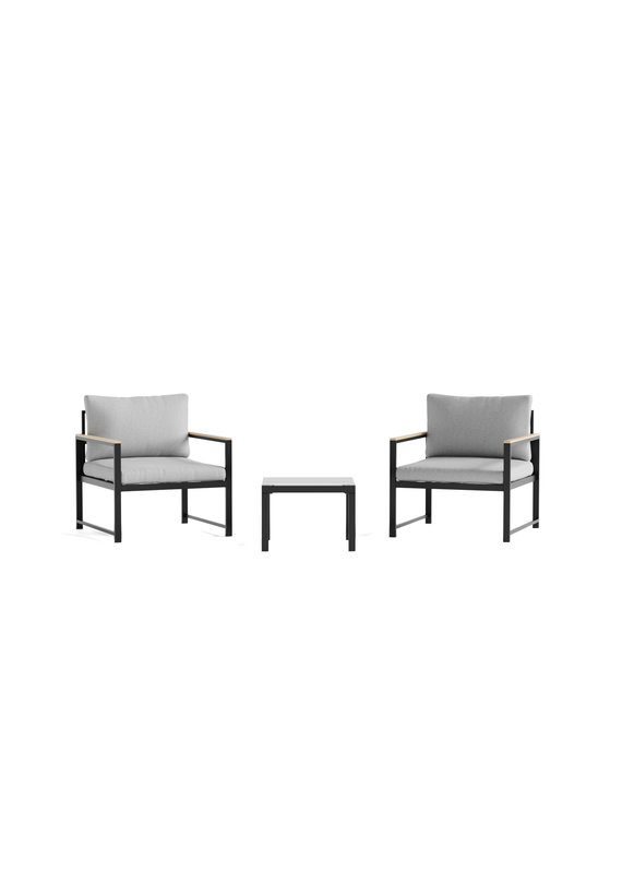 Malouf Weekender Burbank Outdoor Conversation Set with Seat Cushions in Light Gray/Charcoal