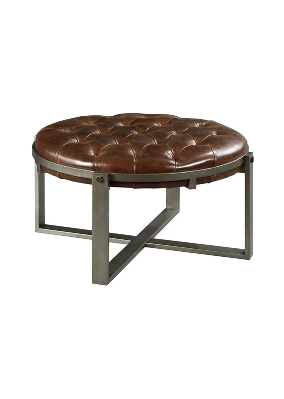 Hammary Intermix Round Leather Cocktail Table