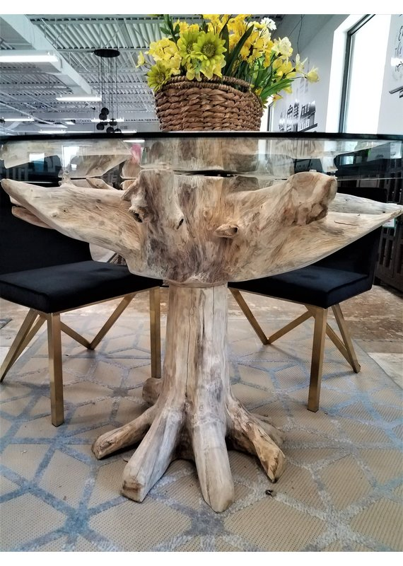 """60"""" Round Teak Root Glass Top Table"""