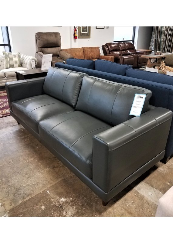 Elements Hampton Leather Sofa in Fiero Charcoal