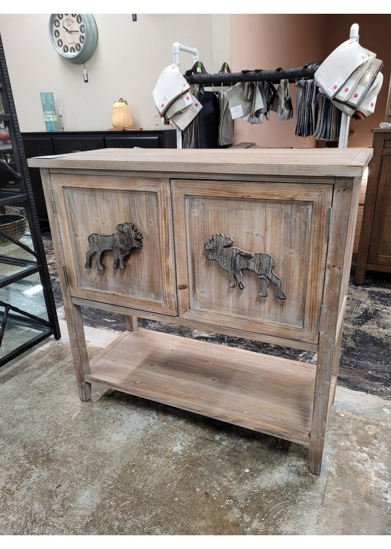 Wooden Moose Accent Chest