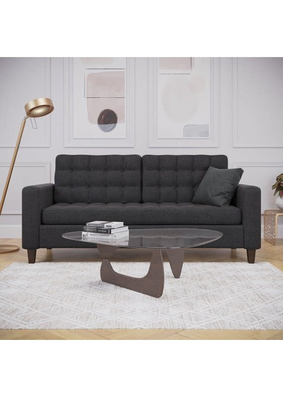 Malouf Thatcher Tufted Square Arm Sofa in Charcoal