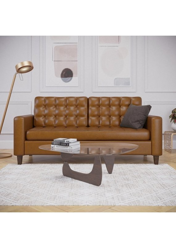 Malouf Thatcher Tufted Square Arm Sofa in Faux Camel