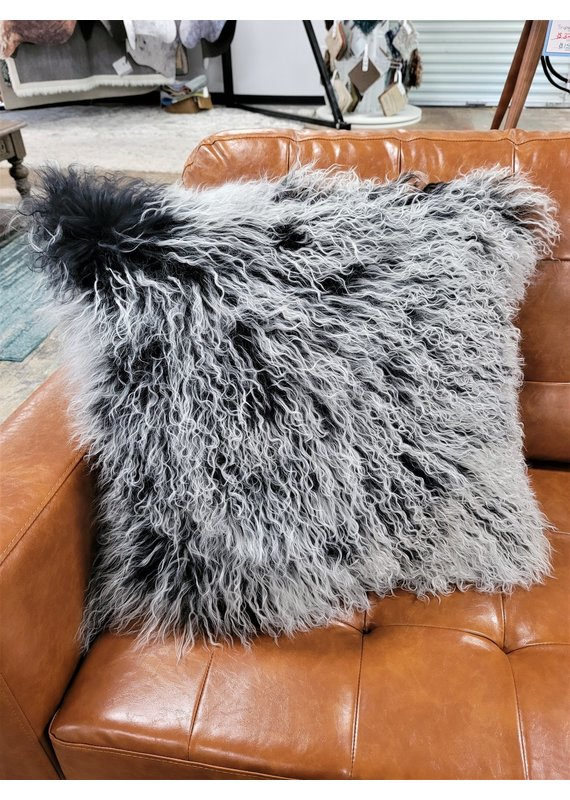 """Chesterfield Leather Tibetan Lamb Fur 24"""" Pillow in Starry Night"""