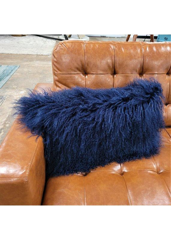 Chesterfield Leather Tibetan Lamb Fur Lumbar Pillow in Navy