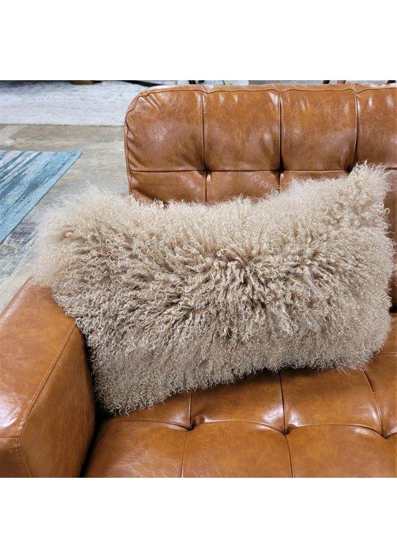 Chesterfield Leather Tibetan Lamb Fur Lumbar Pillow in Spice