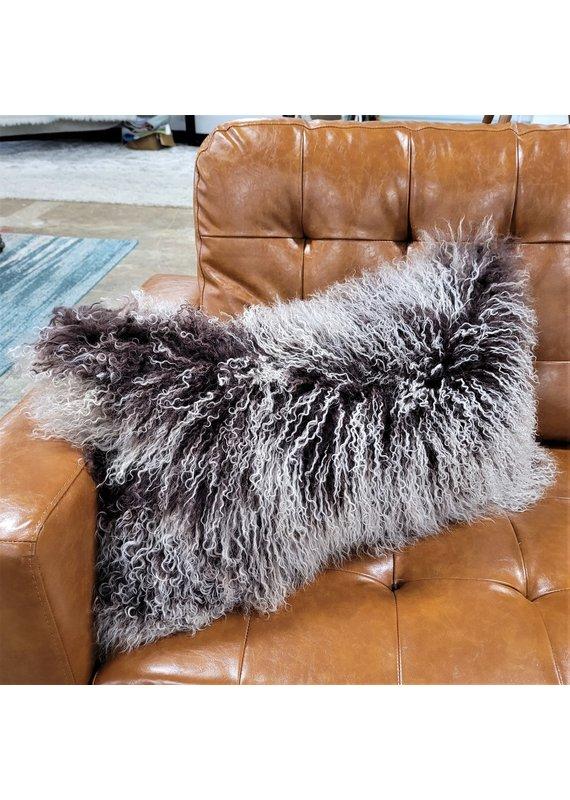 Chesterfield Leather Tibetan Lamb Fur Lumbar Pillow in Chocolate Snowtop
