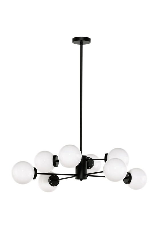 Nuevo Dylan Pendant in Matte Black with White Shade