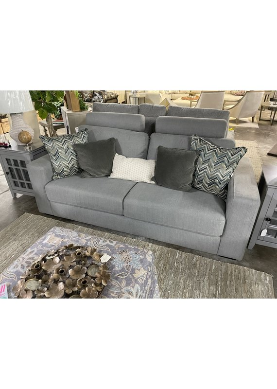Gray Sofa with Removable Headrests