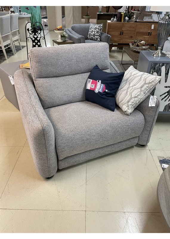 Pinch Seam Chair and a Half Double Power Recliner in Taupe Gray
