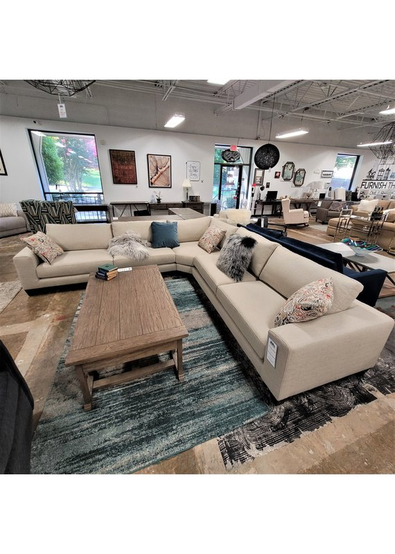 Stone & Leigh 3 Piece Down Blend Sectional in Light Heathered Gray