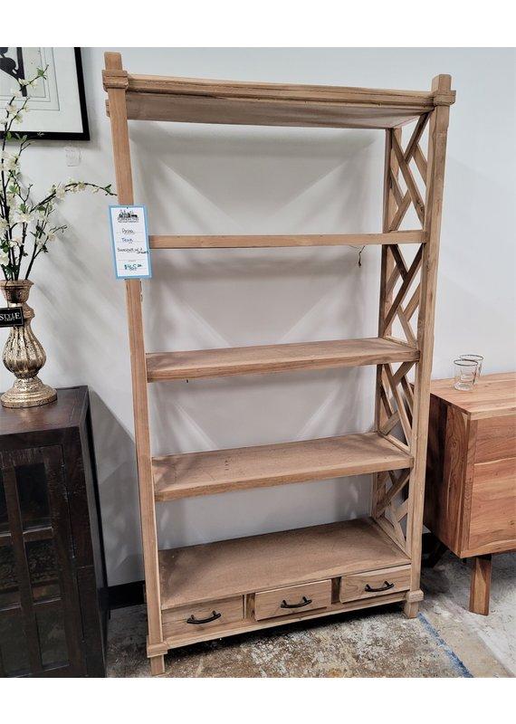 Teak Bookshelf with 3 Drawers