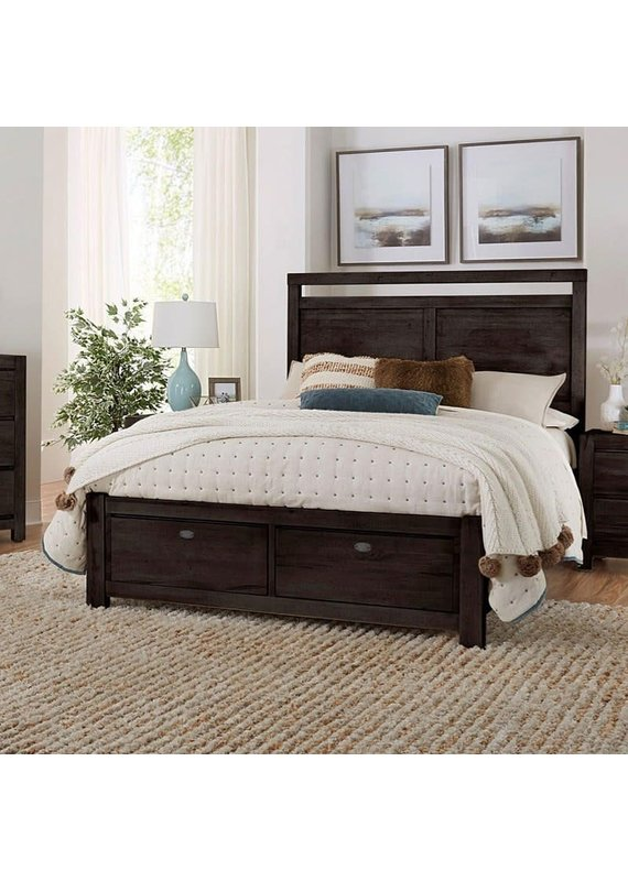 Vaughan Bassett Touche Peppercorn King Panel Complete Storage Bed