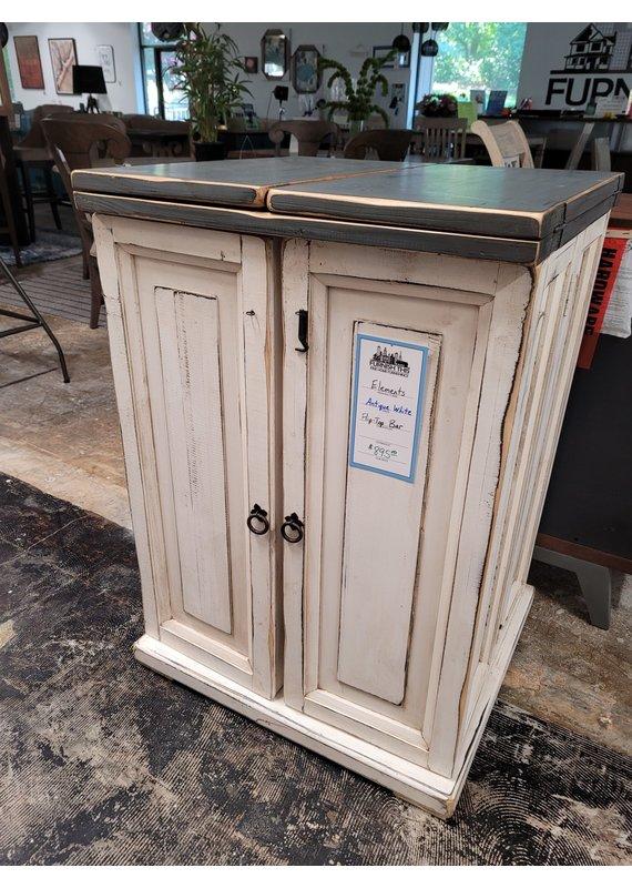 Elements Antique White Flip Top Bar Cabinet