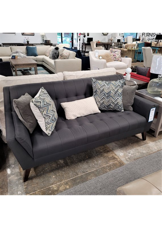 Elements Tufted Charcoal Gray Sofa