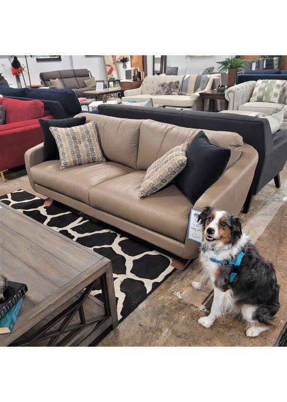 Taupe Top Grain Leather Sofa
