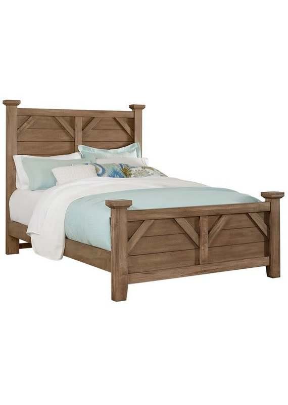 Vaughan Bassett Chestnut Creek Fawn Plank Post Queen Complete Bed