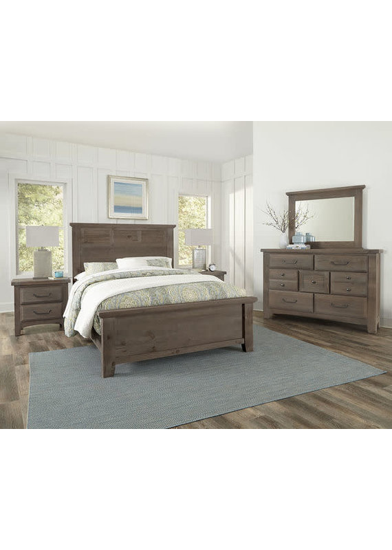 Vaughan Bassett Sawmill Saddle Gray Queen Arch Complete Bed
