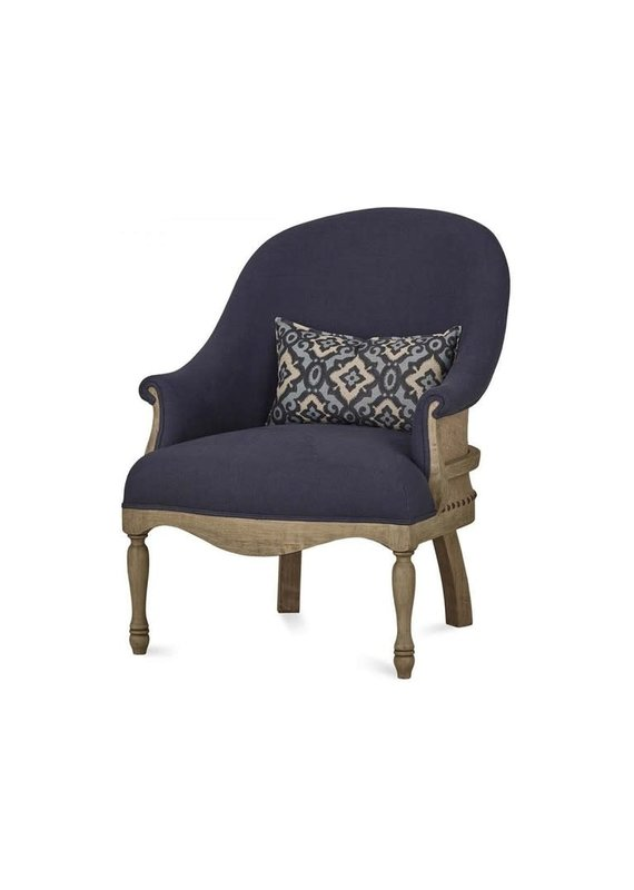 Bramble Milana Arm Chair in Oak and Navy Blue