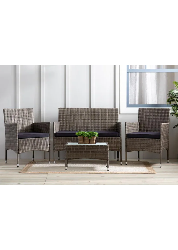 Malouf Brookside Outdoor Rattan 4 piece Patio Set with Cushioned Seating
