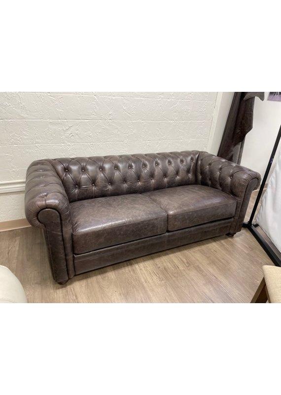 Luke Leather Chesterfield Sofa in Walnut