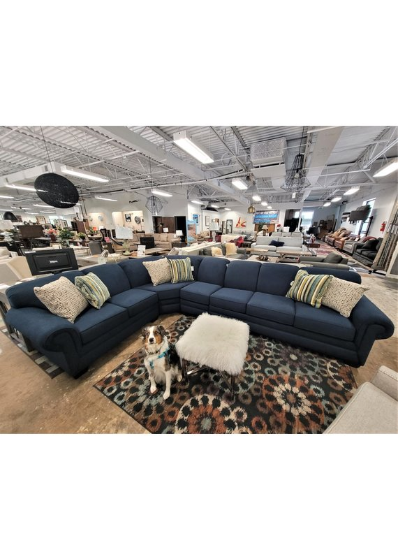 Monroe 4 Piece Sectional with Queen Sleeper in Peyton Navy