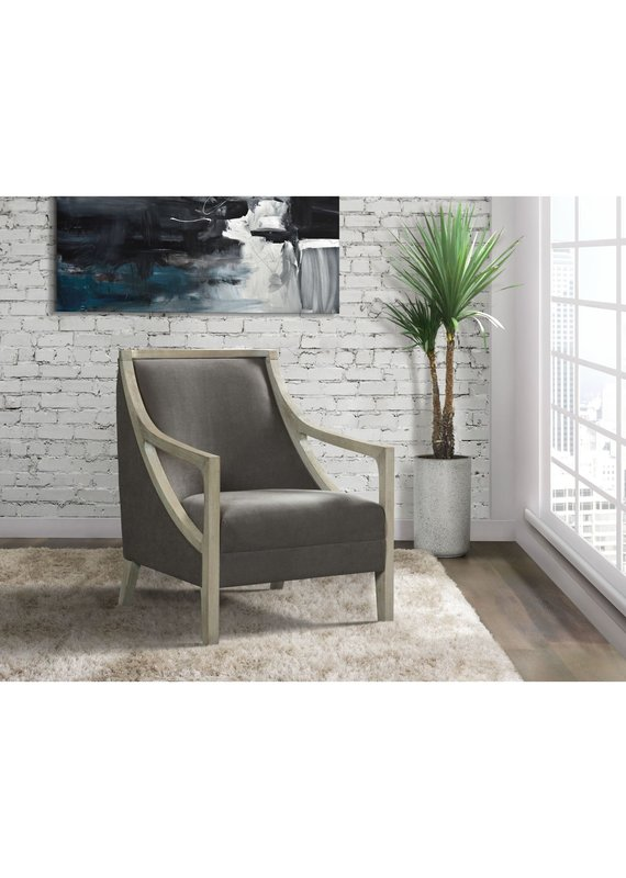 Elements Hopkins Chair with White Wash Arm in Columbia Charcoal