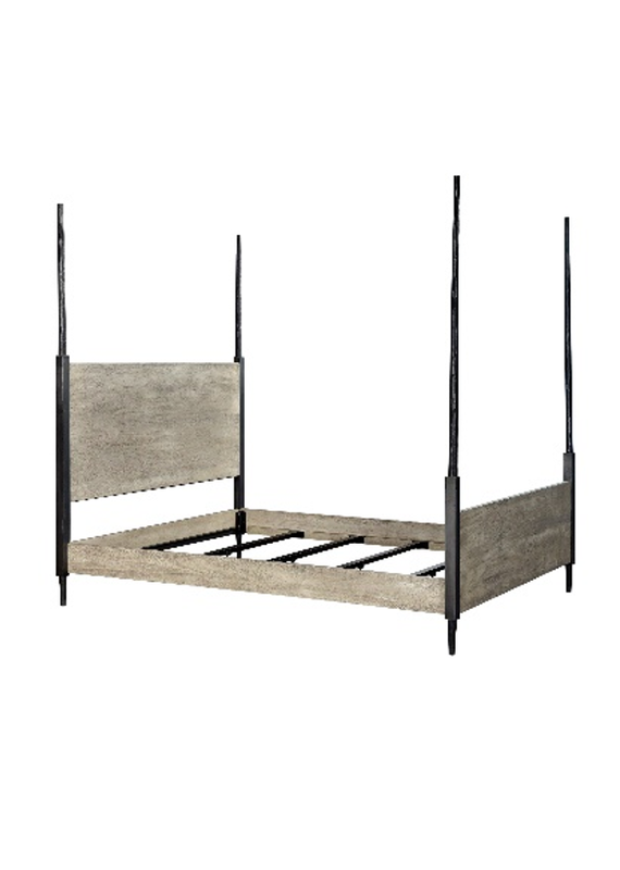Style N Living Fossil Sandblast Grey Queen Complete Poster Bed