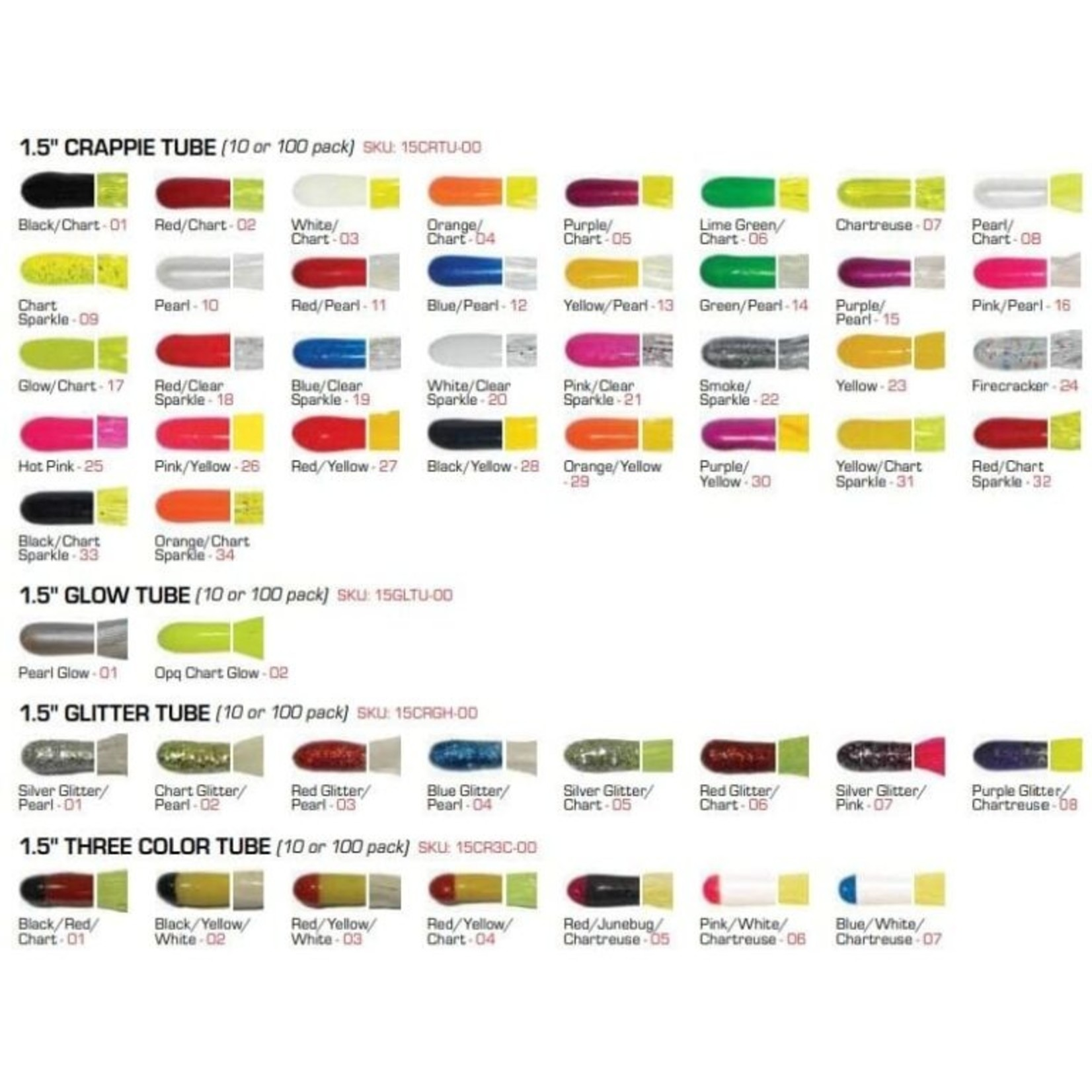 "Big Bite Baits | 1.5"" Glitter Head Tube ""Red Glitter Chartreuse"""