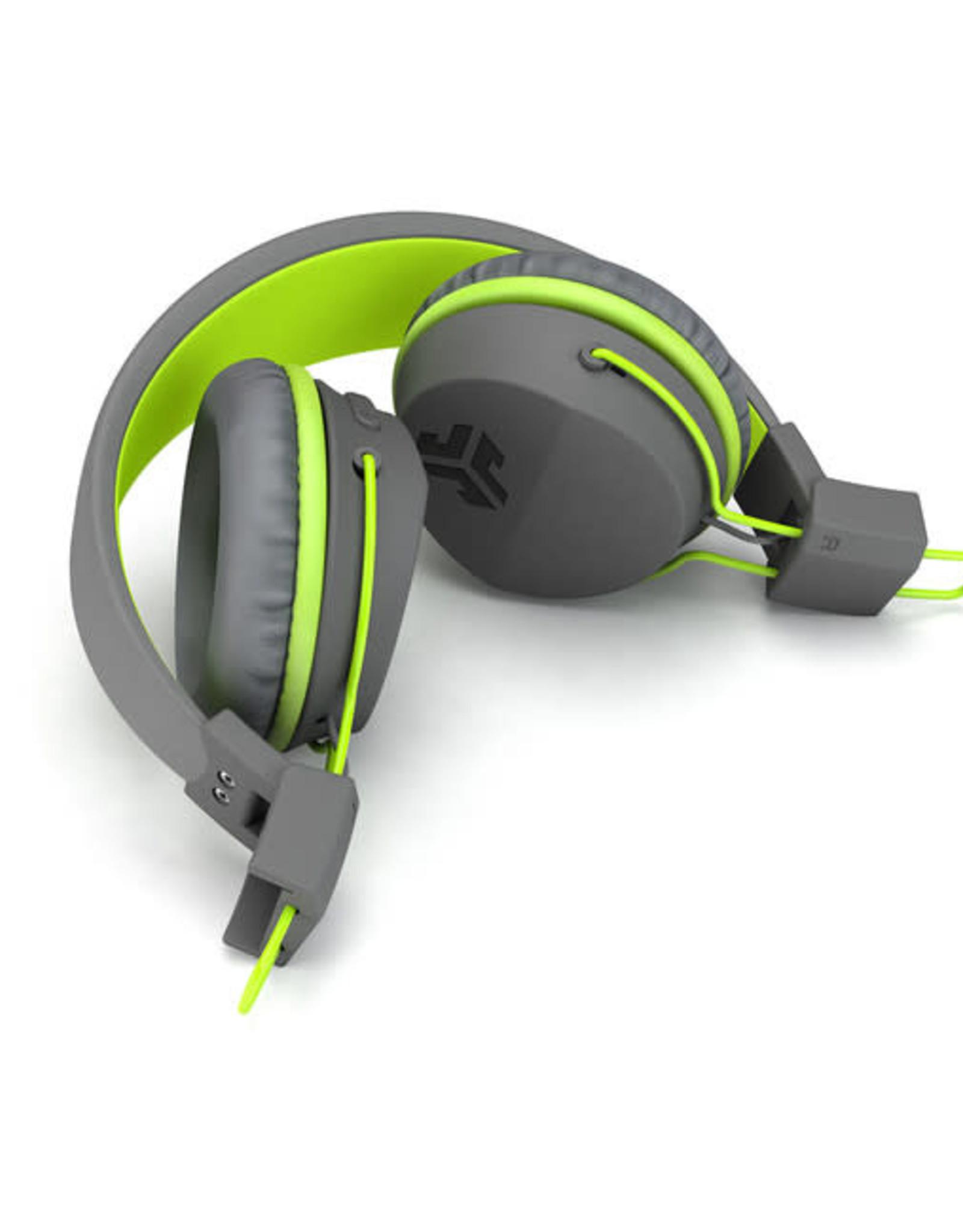 JLab Audio Neon BT Wireless On-Ear Headphones Grey/Green