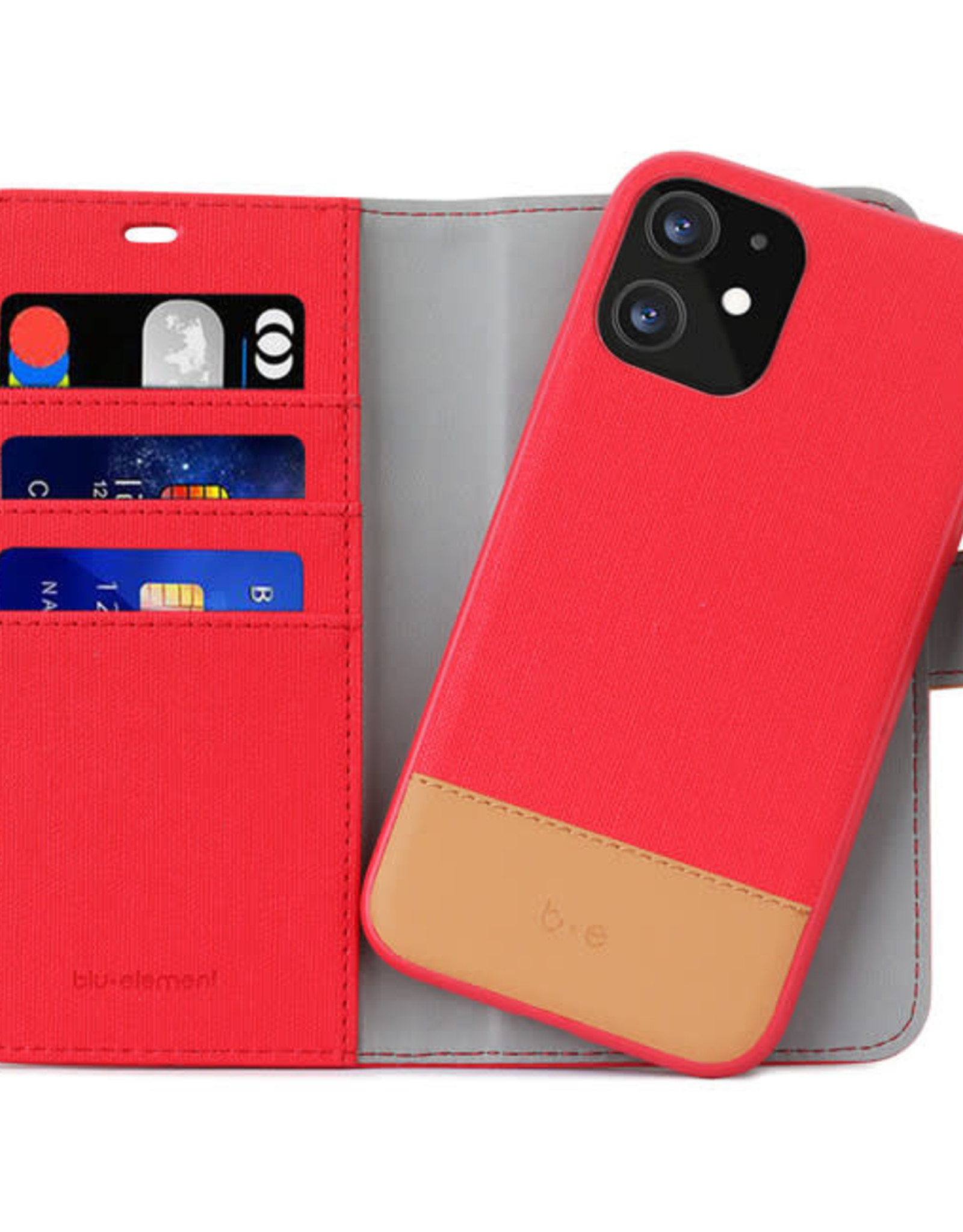 Blu Element 2 in 1 Folio iPhone 12/12 Pro Red/Butterum