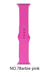 Classic silicone replacement band strap for Apple Watch band series 6 5 4 3 2 1 Band Color:# 7 Barbie pink,Band Width:42/44mm S/M