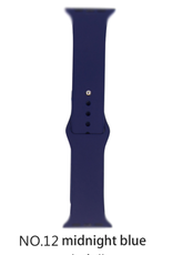 Classic silicone replacement band strap for Apple Watch band series 6 5 4 3 2 1 Band Color:# 12 midnight blue,Band Width:38/40mm S/M