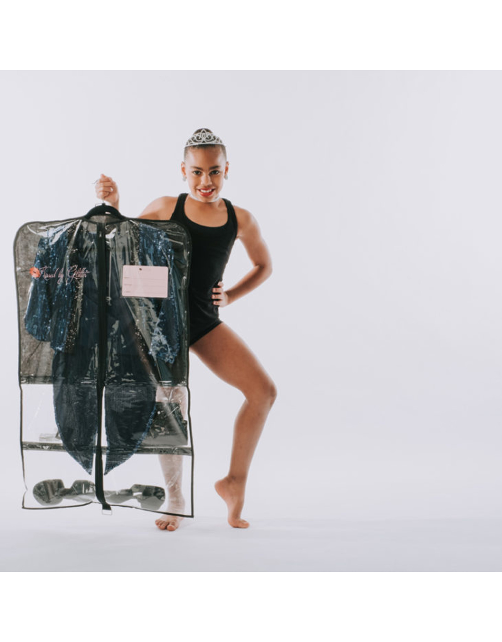 KISSED BY GLITTER BLK/CLEAR GARMENT BAG