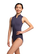 AINSLIEWEAR ZIP FRONT LEOTARD WITH DRAGONFLY PRINT