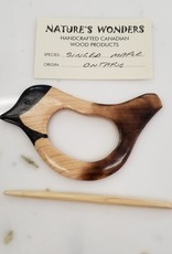 Handmade Wooden Bird Shawl Pin
